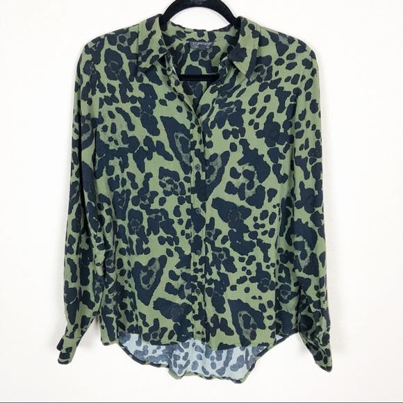 05c28f0adaf6 Topshop | green & black leopard print button down.  M_5b77304b5a9d2190df8b8a3e